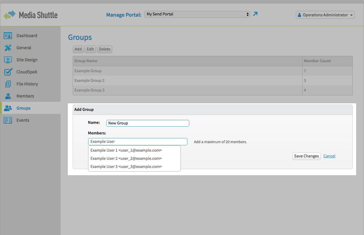 Media Shuttle Ops Admin Interface - Groups Menu, Add Group section highlighted