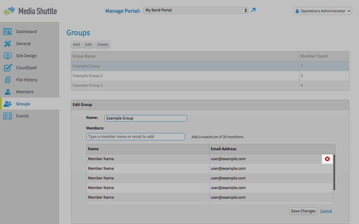 Media Shuttle Ops Admin Interface - Groups Menu, Remove Member Button highlighted