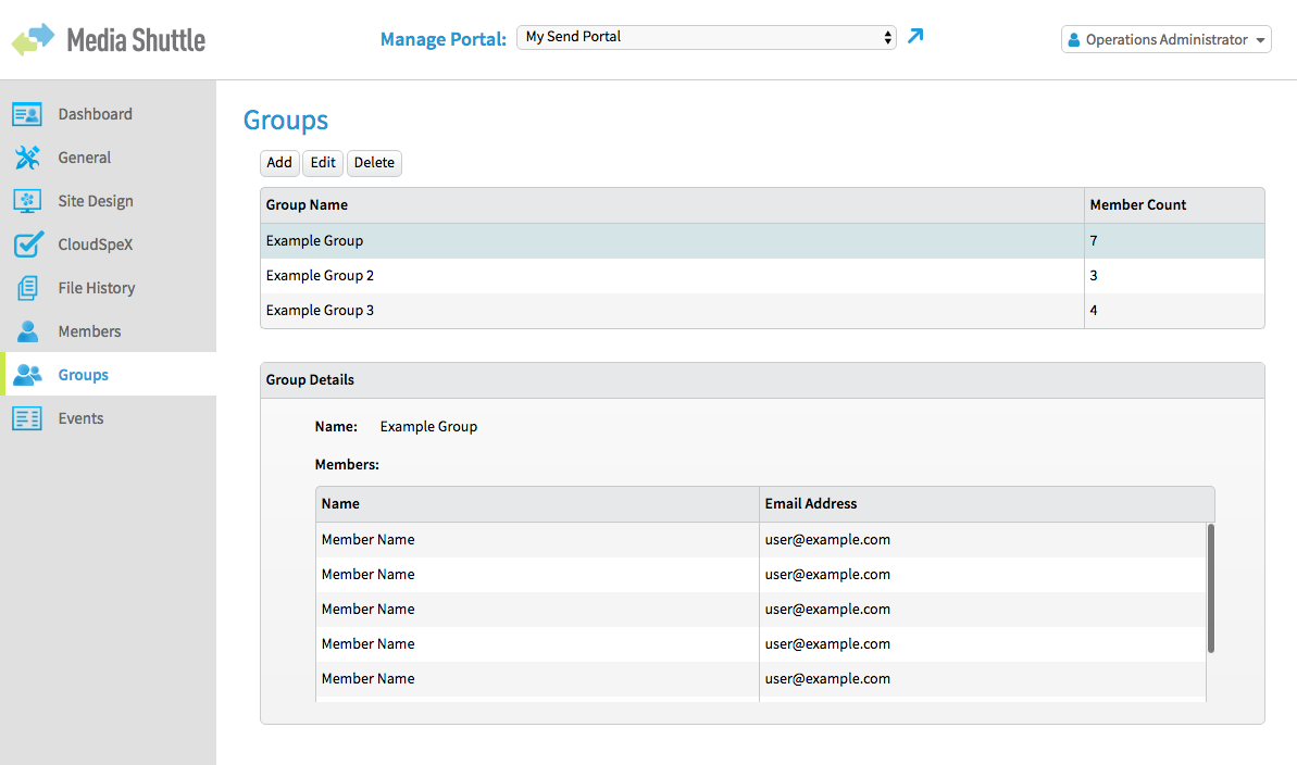 Media Shuttle Ops Admin Interface - Groups Menu, Example Group selected