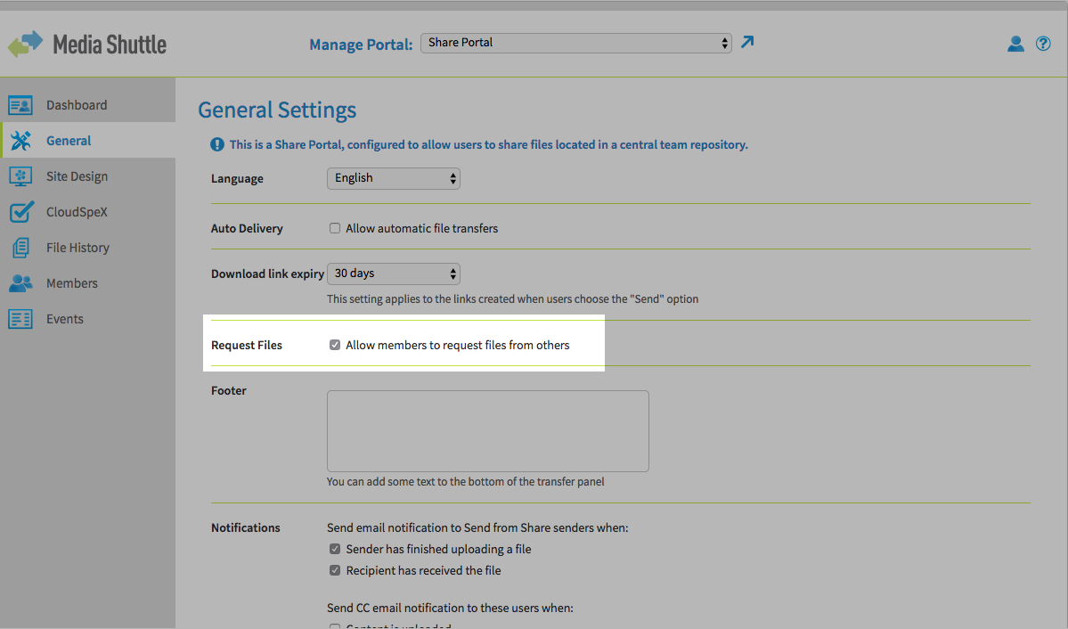 Enable or disable file requests on the general settings menu