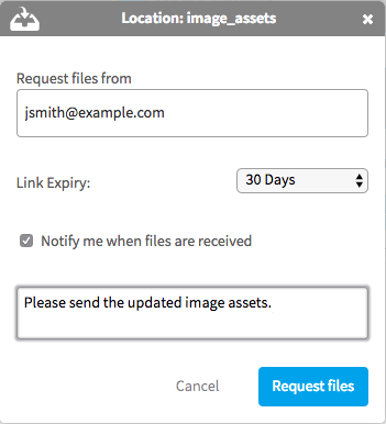 Specify the files you want to receive with the message